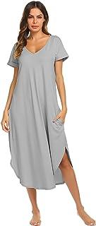 Ekouaer Sleepwear Women s Casual V Neck Nightshirt Short Sleeve Long  Nightgown ... 72173be62