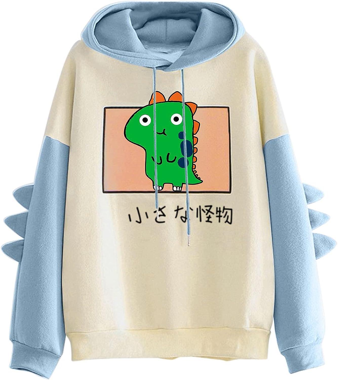 Women Dinosaur Hoodies Sweatshirt Casual Long Sleeve Splicing Tops Cute Cartoon Hoodies Teens Girls Pullover