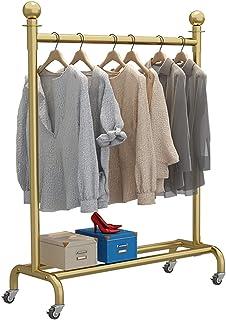 JIE- Racque de Manteau en Fer forgé en Fer forgé Multifonctionnel Robinet de vêtement Mobile Ménage Single Rod Rack, 4 Tai...