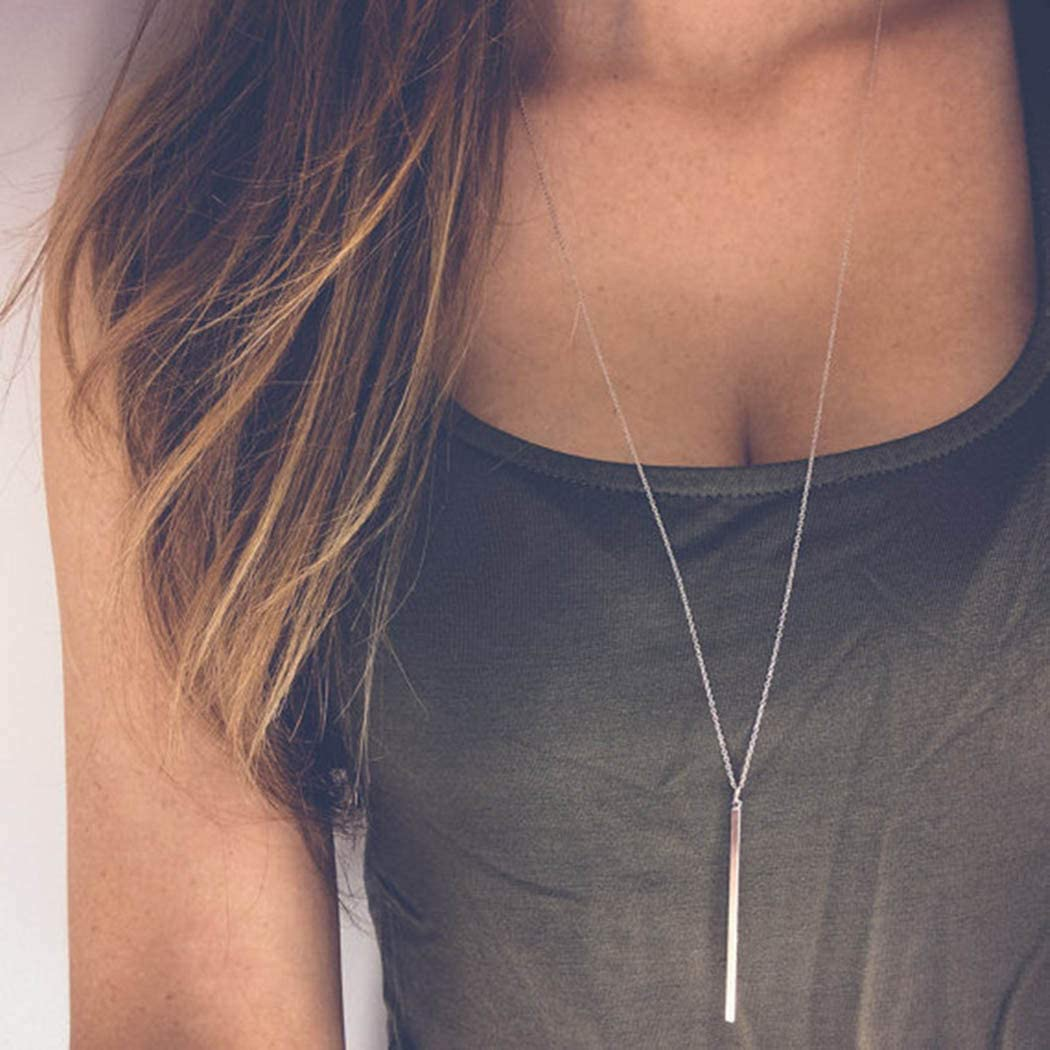 Sakytal Bar Pendant Necklace Gold Long Rod Y Shape Necklaces Chain for Women and Girls