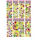BLOUR Pegatina de Dibujos Animados para niños Pegatinas de Bloc de Notas de Bricolaje de Frutas y Verduras para niños Kindergarten Boy Girl Juguetes cognitivos 8 Hojas/Set