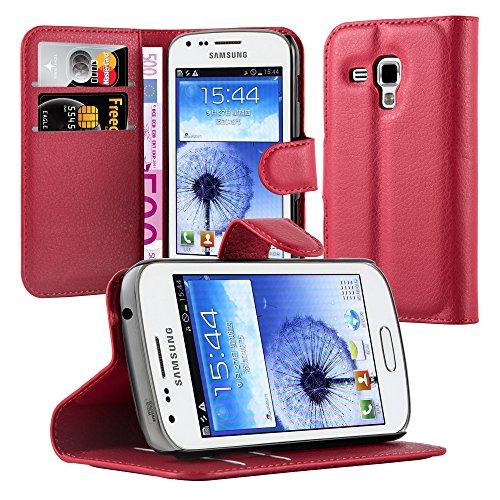 Cadorabo Funda Libro para Samsung Galaxy Trend DUOS en Rojo Carmin – Cubierta Proteccíon con Cierre Magnético, Tarjetero y Función de Suporte – Etui Case Cover Carcasa