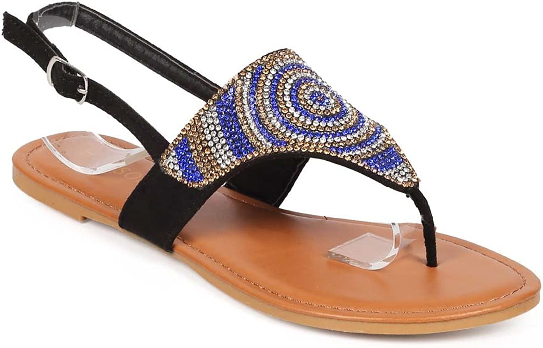 HOTSOLES kvinnor kvinnor kvinnor mocka Rhinestone Slingback Circle Boho Thong Sandal EE71  varumärke på försäljningsbevis