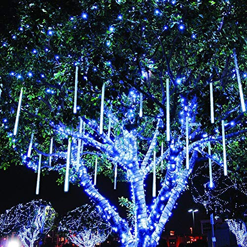 Twinkle Star Meteor Shower Rain Lights, 30cm 8 Tubes 288 LED Valentine Lights Icicle Snow Falling Christmas Lights Outdoor Raindrop Lights, Xmas Wedding Party Tree Holiday Decoration, Blue
