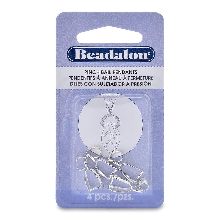 Beadalon 327B-070 Pendant Pinch Bail 22mm, 4/Pkg, Silver