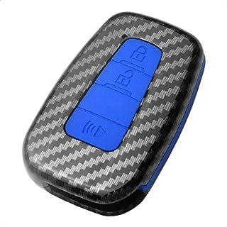 TANGSEN Smart Key Fob Case für Toyota Corolla Schrägheck C HR Prius RAV4 3 Tasten Keyless Entry Fernbedienung Personalisierte Schutzhülle Kunststoff Kohlefaser Muster Blau Silikon