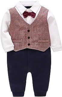 Bebé Niños Mameluco Algodón Pelele De una pieza Corbata de lazo Formales Trajes de caballero 12-18 Meses