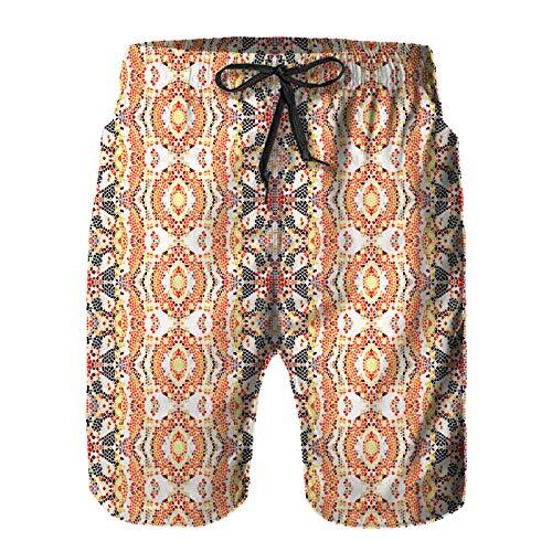 Hombres Verano Secado rápido Pantalones Cortos Playa Patrón Abstracto Colorido Cuadrado Infinito Mosaico para Fondos de Pantalla Trajes de baño Correr Surf Deportes-M