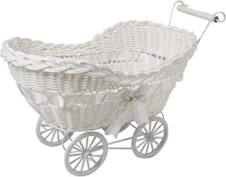 SAFRI LARGE BABY PRAM HAMPER WICKER BASKET BABY SHOWER PARTY GIFTS BOYS GIRLS NEW BORN  White