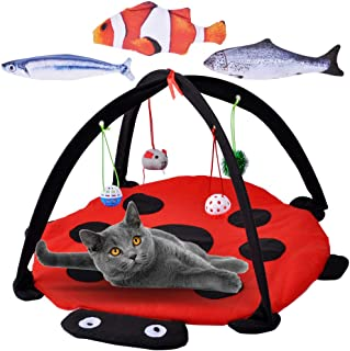 MyfatBOSS Cat Play Mat, Cat Tent Activity Center with Hang Cat Toys Balls Mice, Outdoor Bed Play Tent for Cat