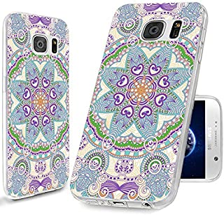 S6 Case,Samsung Galaxy S6 Case,ChiChiC 360 Full Protective Shockproof Ultra Thin Slim Flexible Soft TPU Clear Case Cover with Design for Galaxy S6,Purple Blue Teal Henna Mandala Datura Floral Flower