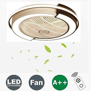 Ventilador De Techo con Lámpara, 36W Creativo Ventilador Invisible LED Lámpara De Techo Control Remoto Regulable Ultra Silencioso Lata Tiempo Ventilador Lámpara Φ53 * H20cm [Clase De Energía A ++]