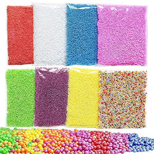 BESLIME 8Pack Schleim-Perlen, Mikrostyropor-Styropor-Korn-kleine Schaum-Bälle für den Schleim, der Kunst DIY Fertigkeit, 0.1-0.14Inch