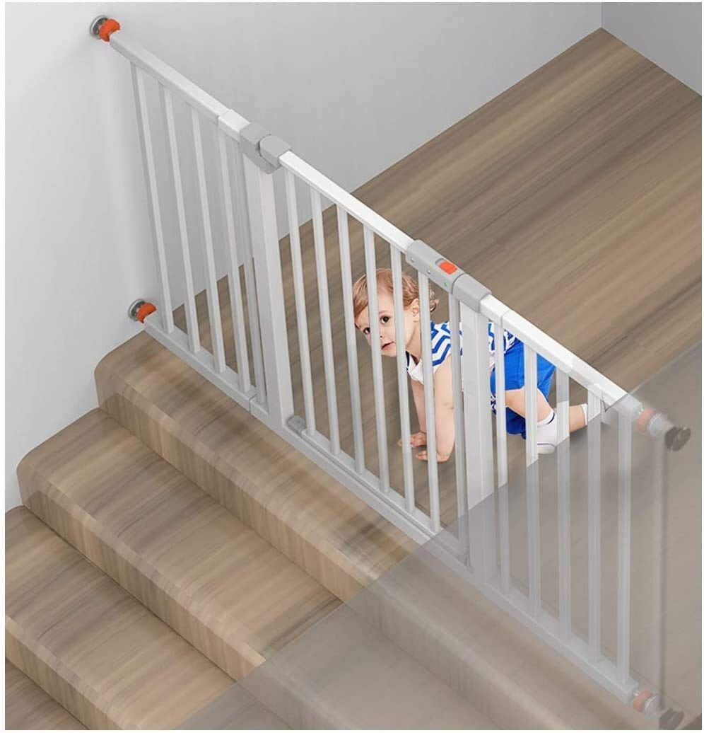 Puerta de seguridad Telescópica Puerta de la seguridad del bebé for escaleras de la cocina Dual Lock Walk Thru ampliable Bar perro de mascota extra ancho cerca del bebé Protección pasamano de