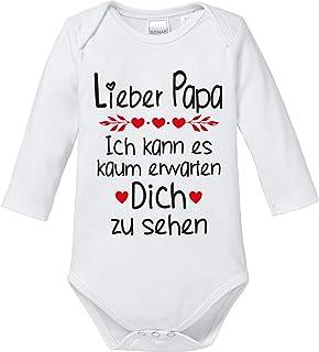 Ezyshirt Lieber Papa ich kann es kaum erwarten Dich zu sehen Body Baby Langarm Bio Baumwolle