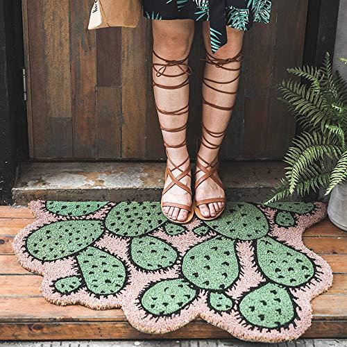 ZRZJBX Felpudo Extra Ancho para La Entrada del Hogar,Felpudo Mono Tapete Exterior O Interior,Felpudo para La De La Fibra De Coco,PatróN De Cactus Verde,60CMx90CM