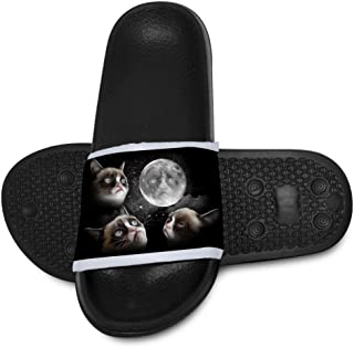 Three Grumpy Cat Moon Slippers for Boy Girl Casual Sandals Shoes Creative 3D Printed Graphic Hipster Design