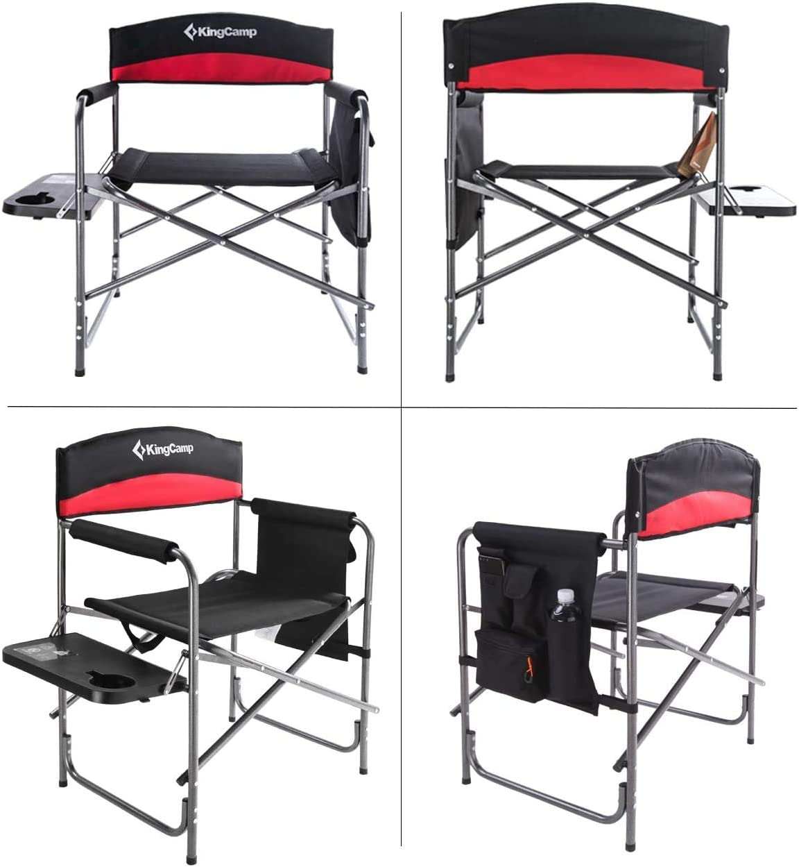 KingCamp Heavy Duty Camping Folding Director Chair Oversize Padded Seat with Side Table and Side Pockets, Supports 396 lbs : Sports & Outdoors