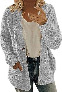 Zronji Women Jacket Coat Hooded Fleece Winter Plus Size Vinatge Outwear Windbreaker Long Sleeve Button Pockets Fluffy