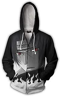 CHENMA Men Naruto Kakashi Long Sleeve Full-Zip Bomber Jacket Hooded Varsity Jacket