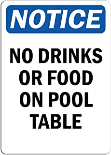 Notice - No Drinks Or Food On Pool Table Sign | Label Decal Sticker Retail Store Sign Sticks to Any Surface 8