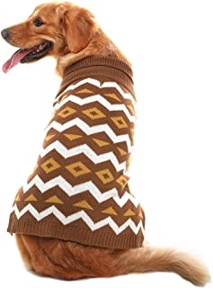PUPTECK Dog Sweater Diamond Pattern Pet Festive Coat Puppy Winter Clothes