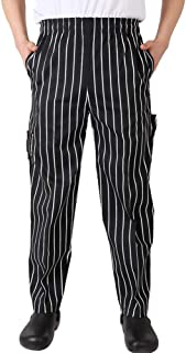 Nideen Men's and Women's Baggy Chef Pant Blue and White Stripes Pant