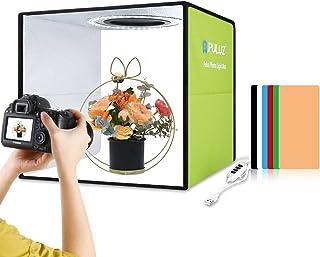 【2021最新版】PULUZ 撮影ボックス 30cm 折り畳み式 簡易スタジオ CRI95以上のLEDライト(112個の高演色性ビーズ) 白光5500K 光度10レベル調整可能 6枚背景シート(3 PVC材質) 便利で持ち運び&収納&組立簡単 ...