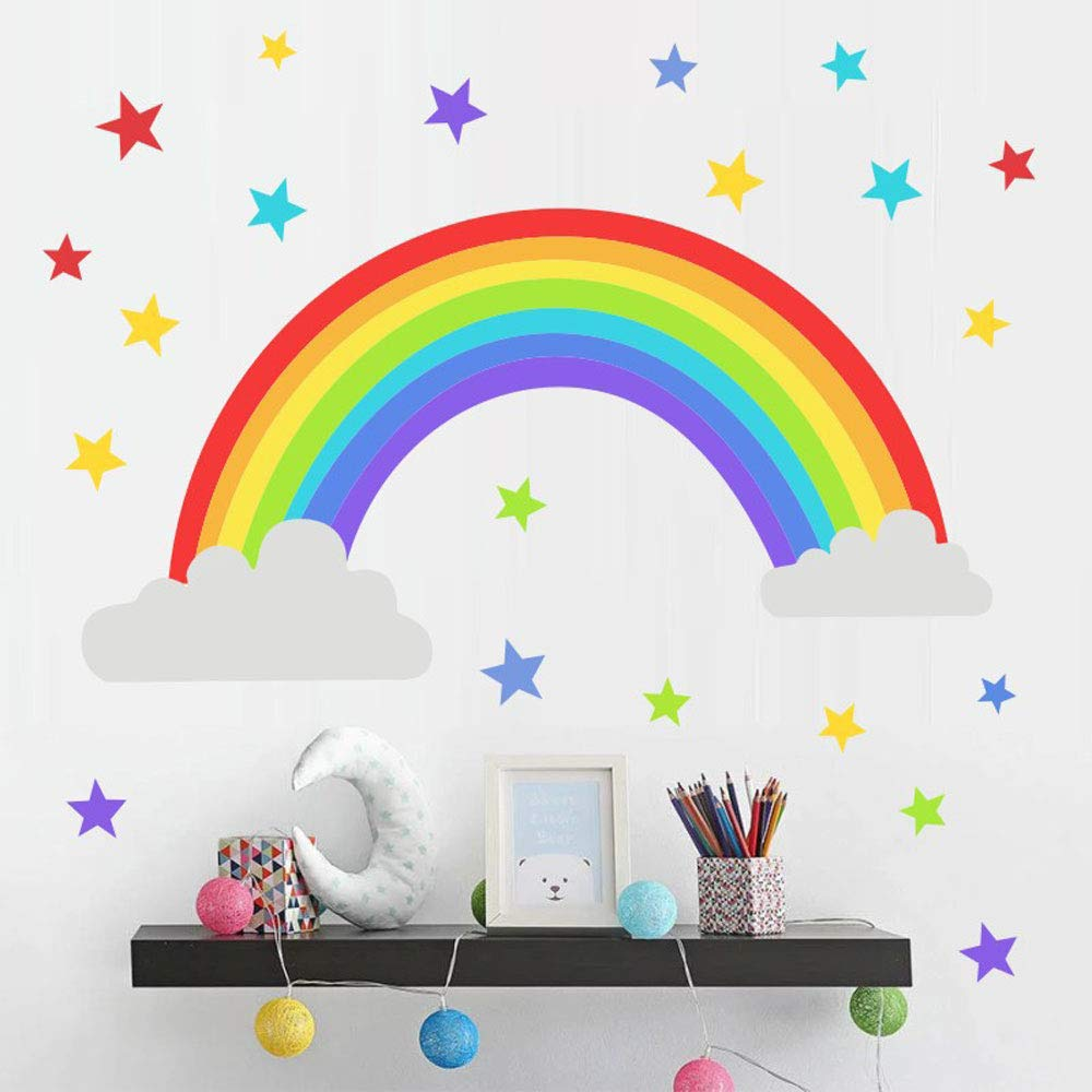 Rainbow Kids Room Decor Cloud Wall Sticker Colorful Stars Clouds Stickers Wall Sticker For Kids Room Decor Gift Diy Mural Art Home Decoration Buy Online In Papua New Guinea At Papua Desertcart Com Productid 128632855