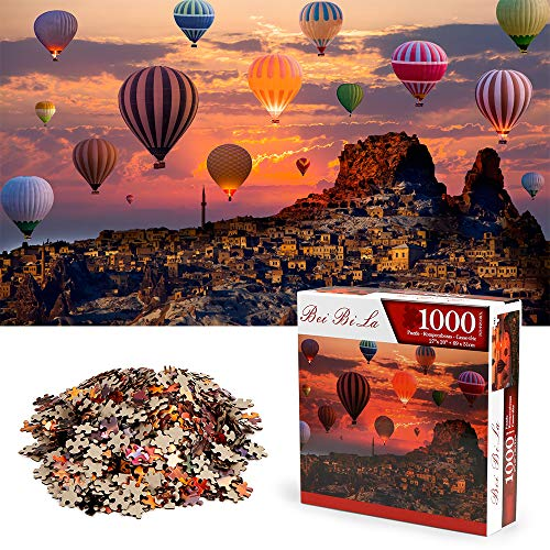 Puzzles 1000 Teile, Ballon Landschaft Rahmenpuzzle, Puzzle Spiel Geschenk, DIY Puzzle Würfel, Montessori Spielzeug Impossible Puzzle, Geschenk Geschicklichkeitsspiel für die Ganze Familie