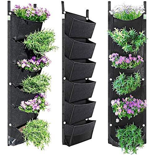 earlyad Blumentöpfe Wandbehang Filz Vertikal Pflanzer Garten Feld Hängen Innen- und Außenbalkon Pflanzen wachsen Container Taschen