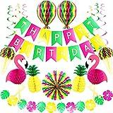 Premium Wiederverwendbare Hawaii Deko - Geburtstagsdeko, Kindergeburtstag Party Deko Geburtstag & Party Zubehör - Girlande Geburtstag Happy Birthday Partydekorationen - Tiki Bar Flamingo Deko Garten