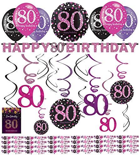 Libetui 80. Geburtstag Dekoration Deko-Set 'Sparkling' Pink Happy Birthday Partykette Girlande Konfetti (80. Geburtstag)