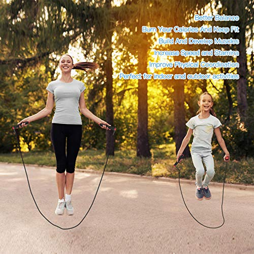 CooSpo Adjustable Fitness Skipping Rope Tangle-free Speed Jump Rope Adult with Rapid Ball Bearings for Man Women Children Kids Boys Girls