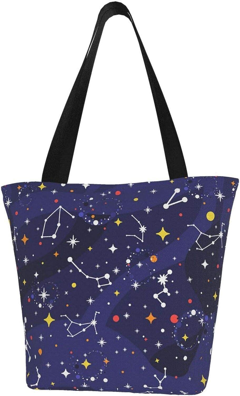 Purple Star Zodiac Constellation Charm Stars Themed Printed Women Canvas Handbag Zipper Shoulder Bag Work Booksbag Tote Purse Leisure Hobo Bag For Shopping