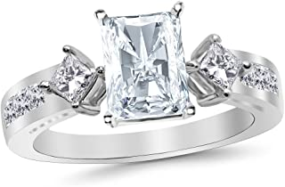 3.75 Ctw 14K White Gold Channel Set 3 Three Stone Princess Radiant Cut GIA Certified Diamond Engagement Ring (3 Ct K Color SI2 Clarity Center Stone)