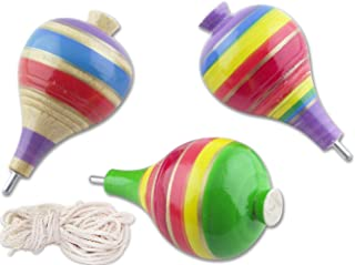 Mexican Classic Wooden Spinning top Trompo de Madera - Set of 3 trompos