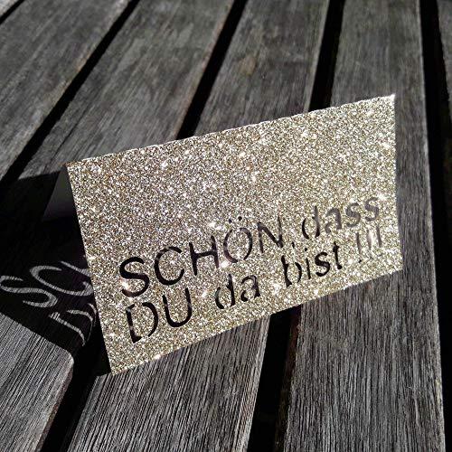 Schön dass DU da bist Tischkarten Platzkarten Namenskarten Tischdeko GOLD GLITTER 10 Stück von AniPolDesign