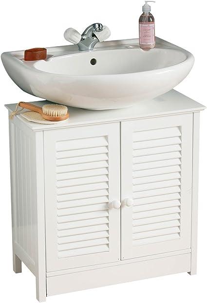 Premier Housewares Bathroom Cabinet Under Sink Unit Double Shutter Doors Bathroom Under Sink Cabinet Under Sink Cupboard Bathroom 60 X 60 X 30 Cm White Amazon Co Uk Home Kitchen