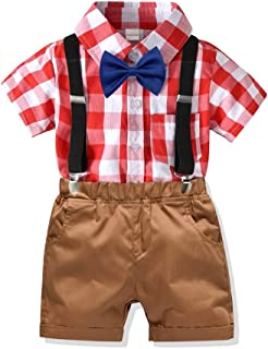 男の子服セット 子供の綿のチェック柄半袖Tシャツとショートパンツセット 紳士ドレススーツと蝶ネクタイのデザイン 半袖トップスシャツパンツ (色 : C2, サイズ : 90)