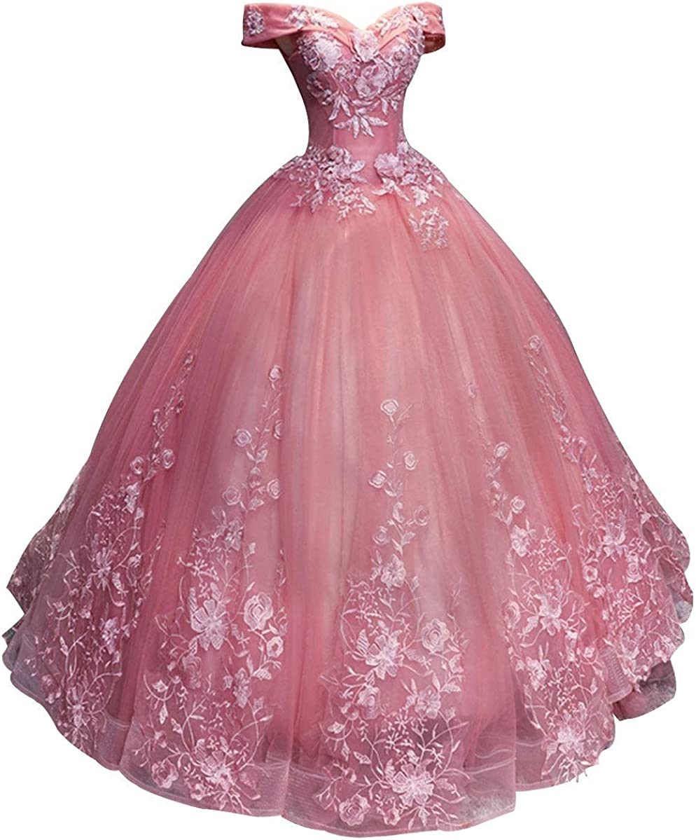 Chupeng Women's Prom Dress Ball Gown Off Shoulder Quinceanera Dress Lace Formal Evening Gowns Appliques Prom Dresses