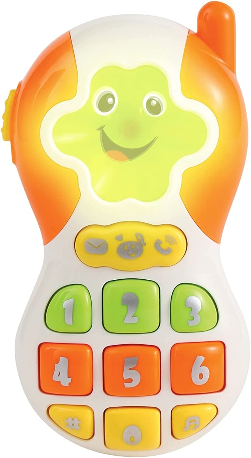 Baby Cell Phone Toy with Popular Melodies for Toddlers, Ringing Sounds, Lights and Numbers for Role Play and Early Learning Education