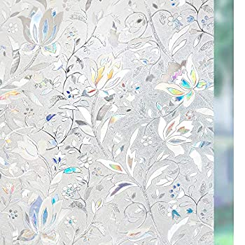 rabbitgoo Window Privacy Film Decorative Rainbow Glass Film Stained Glass Window Decals Static Cling Window Vinyl Door Window Covering Removable Window Sticker Sun Blocking Blooming Flowers
