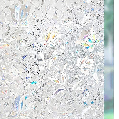 rabbitgoo Fensterfolie Selbsthaftend Blickdicht Sichtschutzfolie Fenster 3D Fensterfolie Glasfolie Dekofolie Statisch Haftend ohne Klebstoff UV Schutz Blumen Tulpe 60x200cm für Bad Büro Wohnzimmer