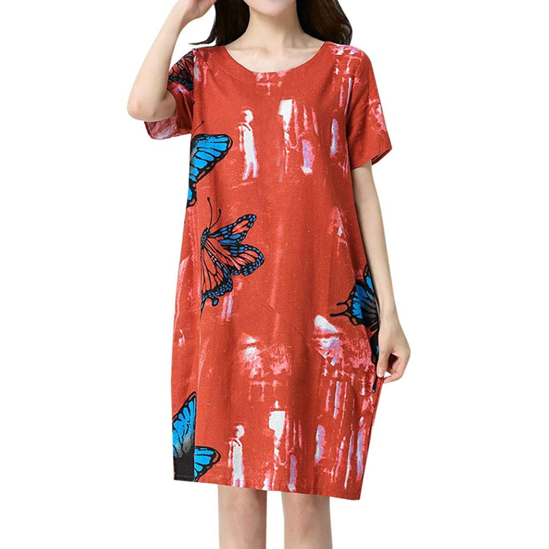蒸発する実験的市場ワンピース レディース Rexzo 蝶柄 半袖 綿麻ワンピース ポケットあり カジュアル リネンワンピ おしゃれ 優しい風合い ワンピース ゆったり 体型カバー ドレスファッション 人気 スカート 日常 デート パーティー