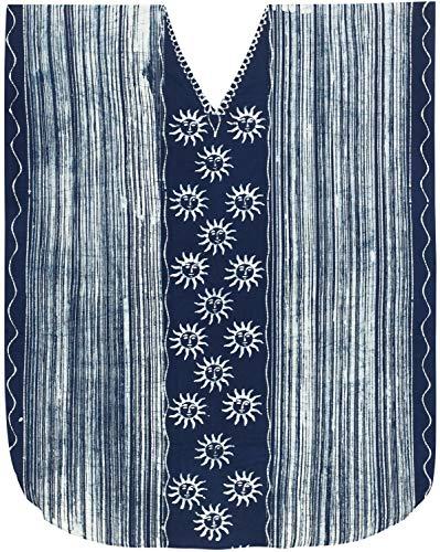 LA LEELA Frauen Damen Baumwolle Kaftan Tunika Batik Kimono freie Größe Lange Maxi Party Kleid für Loungewear Urlaub Nachtwäsche Strand jeden Tag Kleider Blau_X607