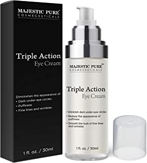 Eye Cream for Appearance of Under Eye Dark Circles, Puffiness, Fine Lines and Wrinkles - Triple Action Formula Soothes and...