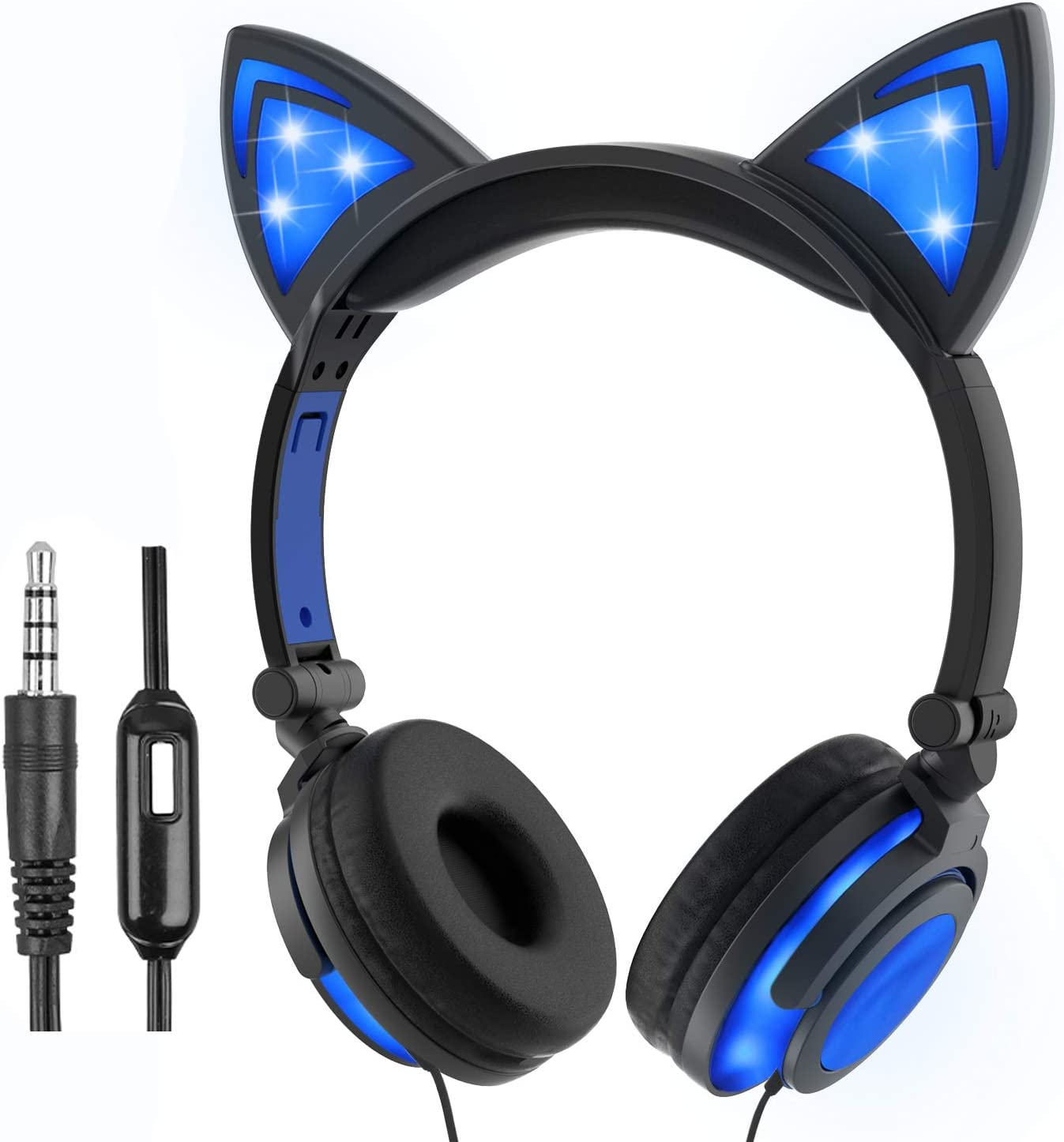 Olyre Cat Headphones for Girls Boys,Flashing LED Headphones with Microphone On Ear Universal Wired 3.5mm Stereo Headset for Computer Tablet iPad Mobile Phones(Blue)