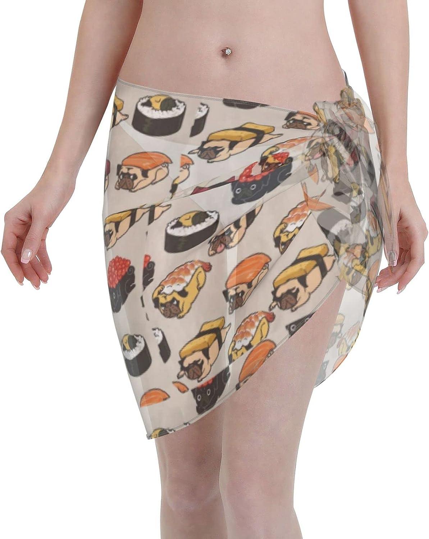 Miusixi Sushi Pug Women Tie-Dye Beach Sarong Short Sarongs Cover Ups Beach Swimsuit Wrap Skirt Black