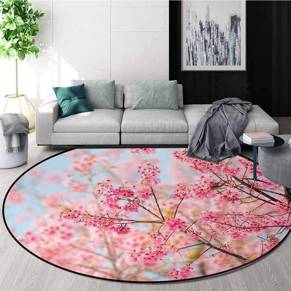 Floral Non-Slip New Orleans Mall Area Rug Pad Round Sakura Japanese Blosso Cherry Virginia Beach Mall